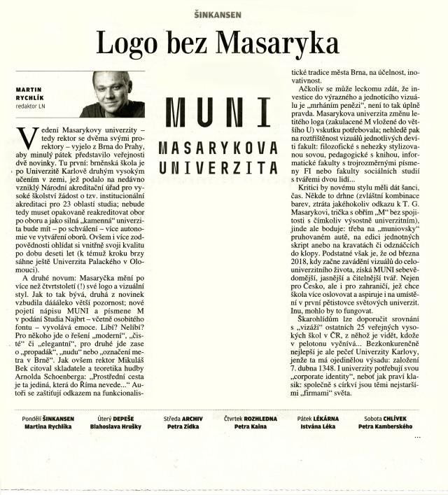 Logo bez Masaryka, LN, Martin Rychlík