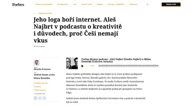 Forbes 12/11/2020, Forbes Byznys podcast – Aleš Najbrt and Milan Šemelák